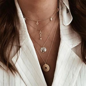 Jewelry - 4 for $25⚡️star hollow cross coin layered necklace